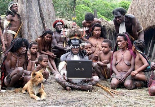 Funny-wild-peoples-using-Latest-Model-of-Laptop.Just-Look-at-their-Boss