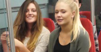 Mulheres pegas no flagra olhando pênis de homem no metrô
