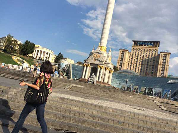 Independence Square (Maidan) no centro de Kiev