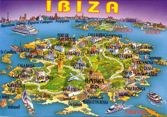 Mapa de Ibiza na Espanha