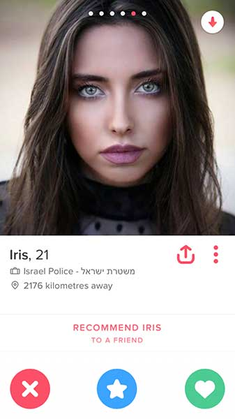 Mulher policial no tinder israelense